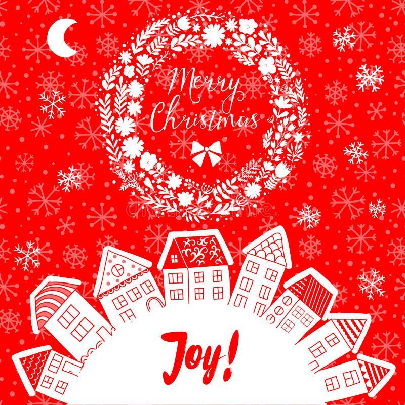 导航圣诞节与在一半被安置的房子的贺卡行星附近,套逗人喜爱的传染媒介房子,冬天题材 圣诞节p 库存例证