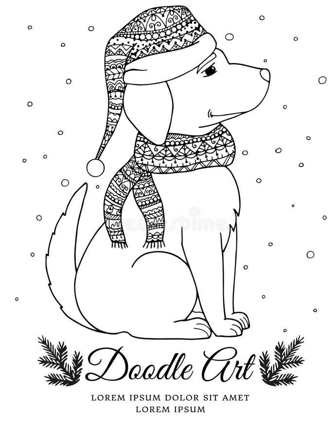 导航圣诞节例证在围巾和帽子的zentangl狗 乱画图画 向量例证