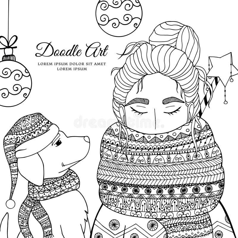 导航圣诞节例证zentangl女孩和狗在围巾 乱画图画 库存例证