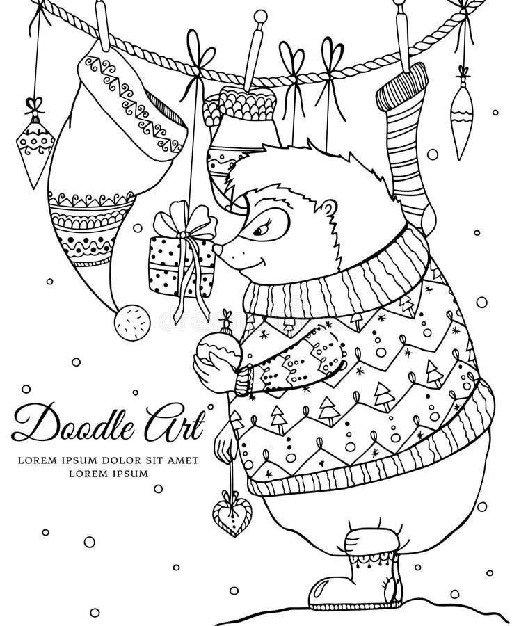 导航圣诞节例证zentangl猬和圣诞节礼物 向量例证