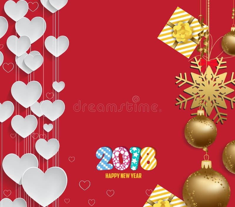 导航圣诞节2018年与圣诞节球金子的心脏背景的例证 向量例证