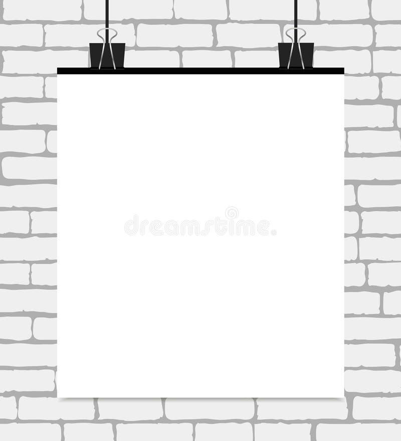 导航在一个白色砖墙上的白色空白的海报 与文本地方的传染媒介模板 向量例证