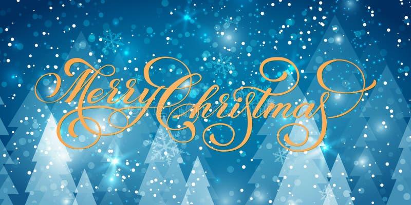 导航在冬天背景的圣诞快乐文本与杉树和雪 创造性的印刷术礼物海报假日 向量例证