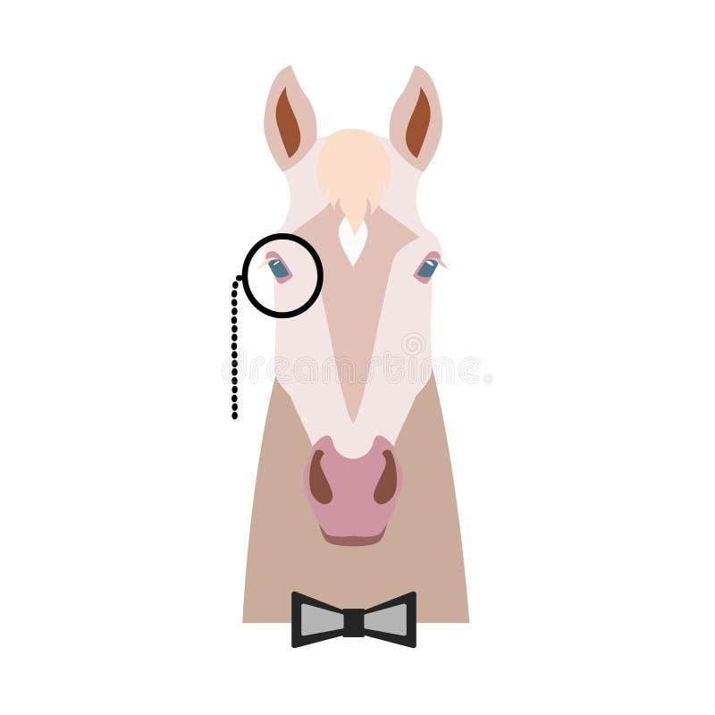 导航在单片眼镜和bowtie的伊莎贝拉平的样式马头 向量例证