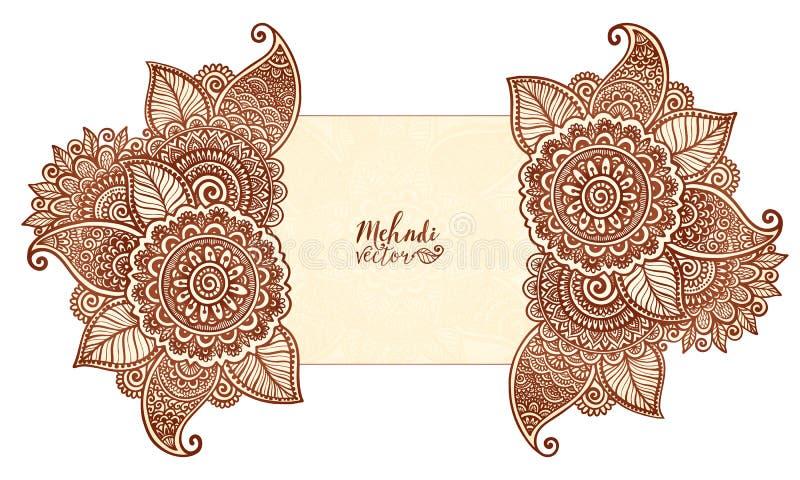 导航在印地安mehndi无刺指甲花纹身花刺样式的花卉元素 向量例证