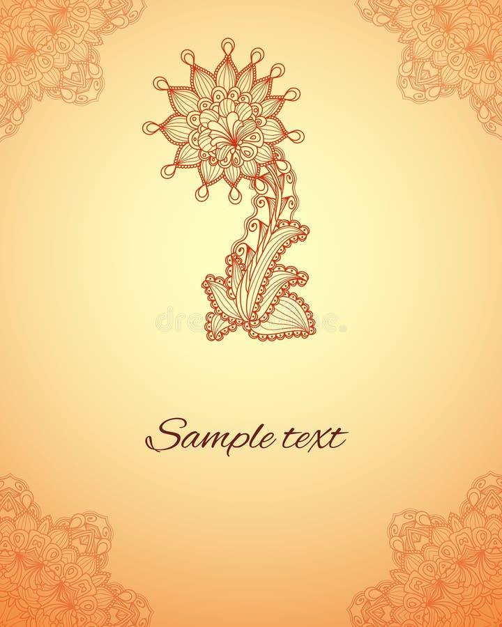 导航在印地安mehndi样式的抽象花卉元素 无刺指甲花Fl 皇族释放例证