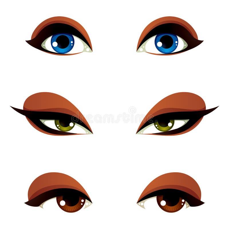 导航在另外情感的女性眼睛与蓝色、褐色和gre 皇族释放例证
