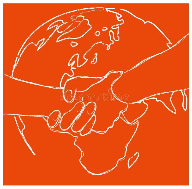 导航在地球地球的握手在平的样式 皇族释放例证
