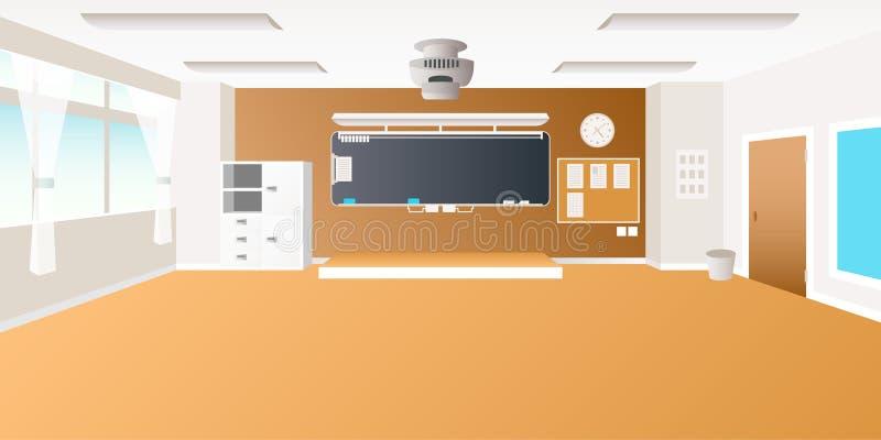 导航在平的样式的中学教室内部空的场面 向量例证