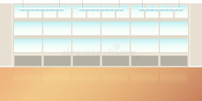 导航在平的样式的现代顶楼办公室或教室内部空的场面 向量例证