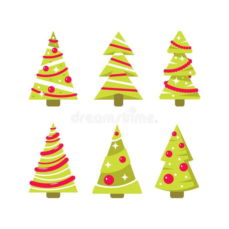 导航在平的样式的简单的圣诞树 库存例证