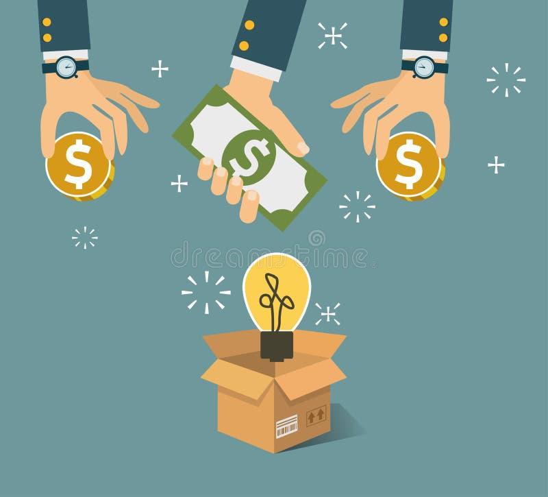导航在平的样式-新的业务模式的crowdfunding的概念 向量例证