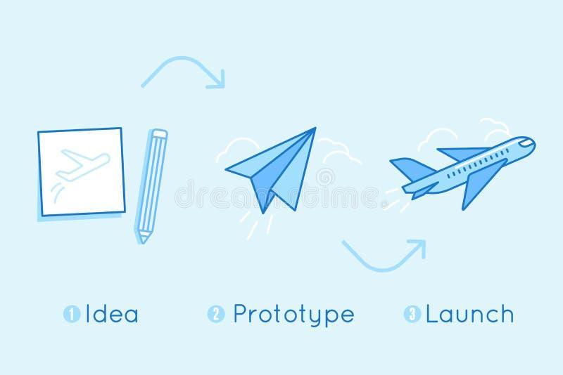 导航在平的线性样式和蓝色颜色- busin的例证 向量例证