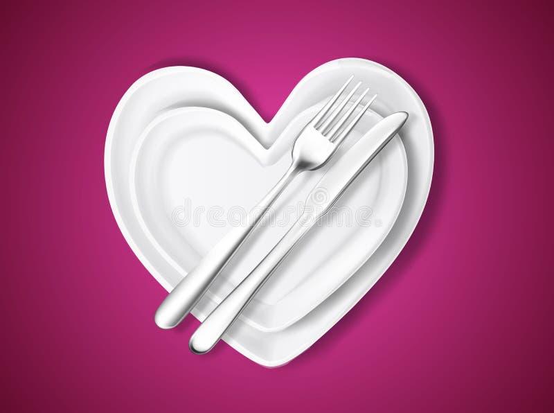 导航在心脏,刀子,叉子形状的板材  向量例证