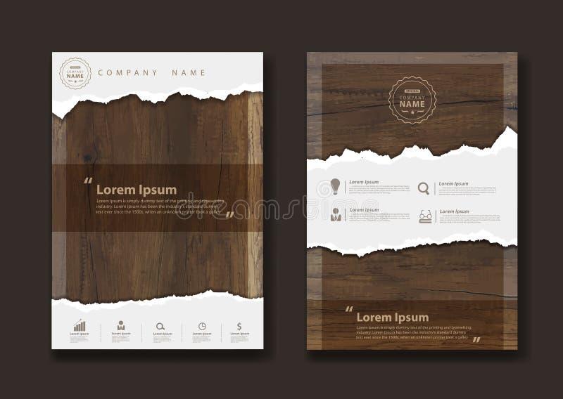 导航在木背景纹理的被剥去的纸  库存例证