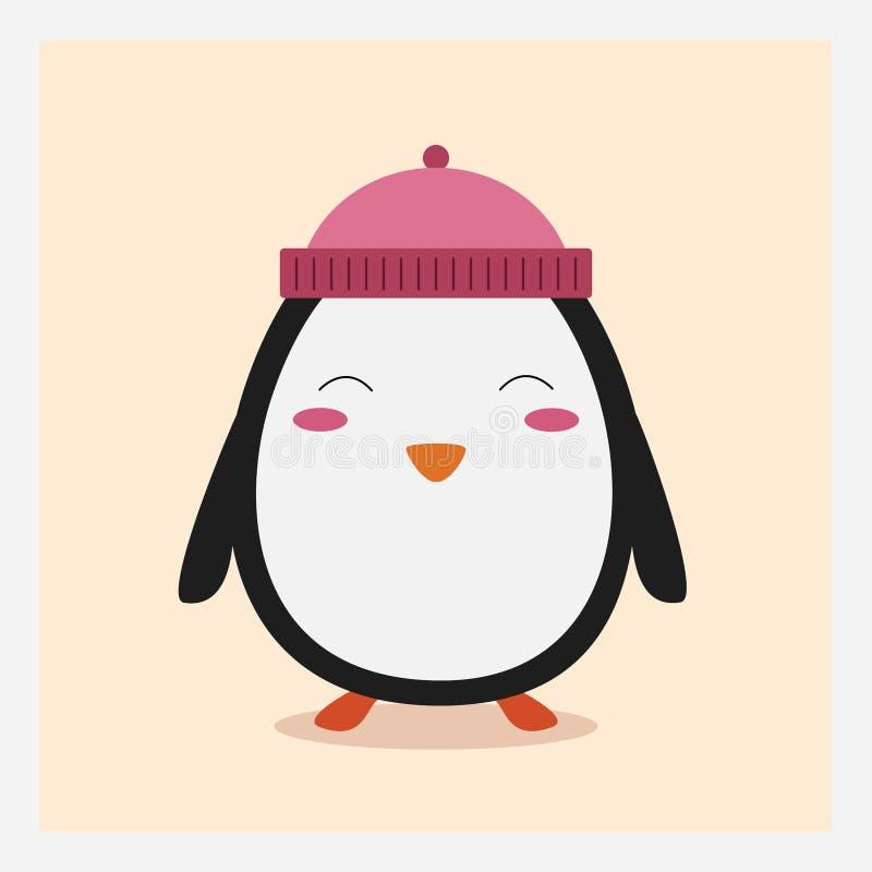 导航在桃红色帽子的逗人喜爱的愉快的平的野生动物企鹅有pom pom的 库存图片