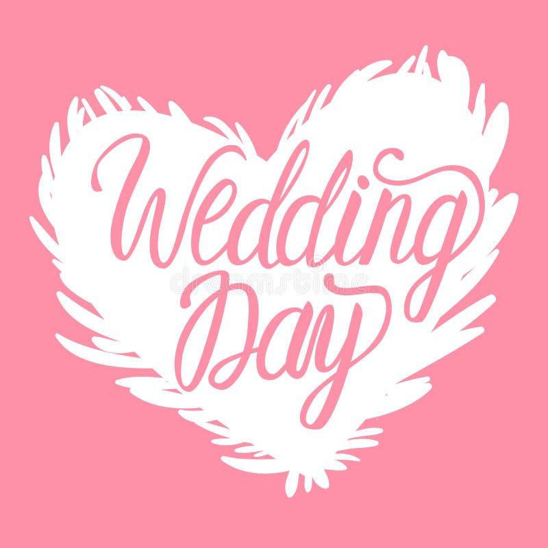 导航在桃红色背景隔绝的婚礼之日白色例证天鹅心脏 字法题字 向量例证