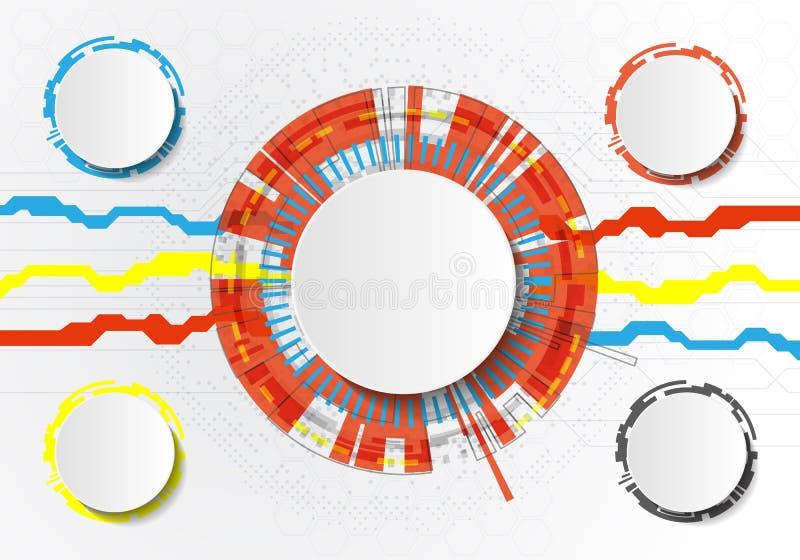 导航在浅灰色的背景,高科技数字技术概念的抽象未来派电路板 空白的白色3d纸圈子 向量例证