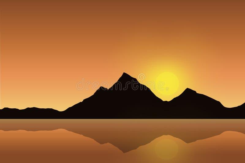 导航在海表面反映的山风景的例证在与上升的橙色天空下 皇族释放例证