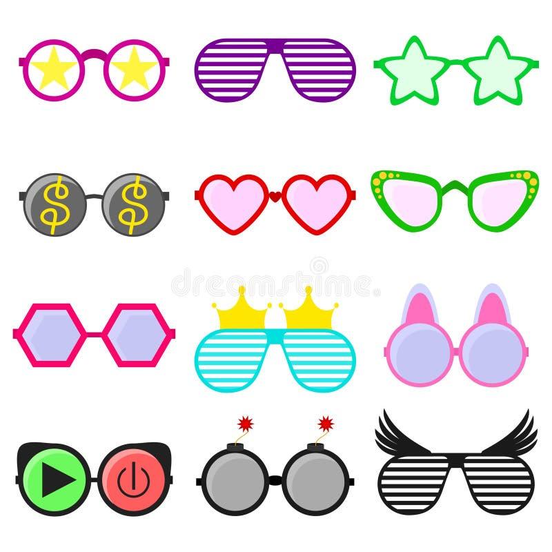 导航在滑稽的形状或镜片设置的党太阳镜 行家时尚光学眼镜眼力的辅助部件 向量例证