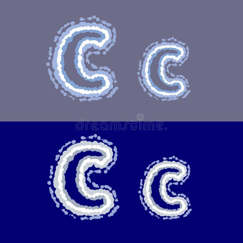 导航在灰色和蓝色背景的信件C 库存例证