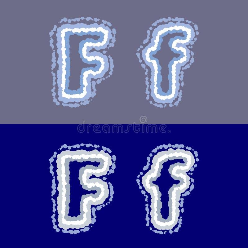 导航在灰色和蓝色背景的信件F 向量例证