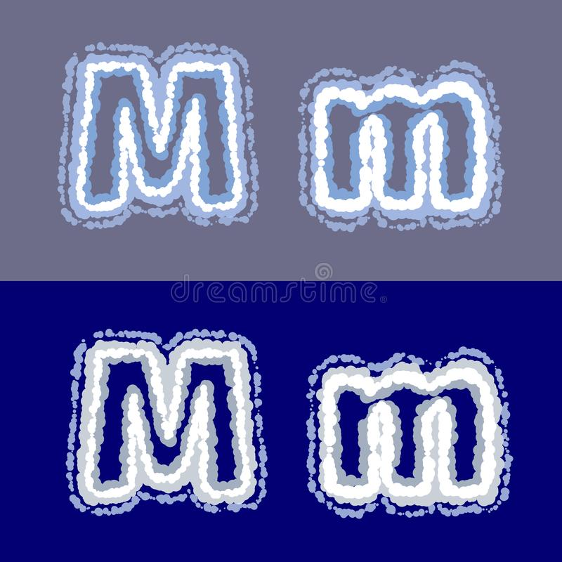 导航在灰色和蓝色背景的信件M 向量例证