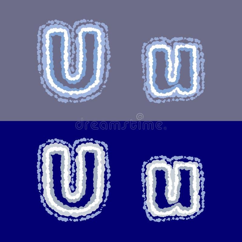 导航在灰色和蓝色背景的信件U 免版税库存照片