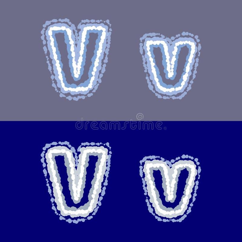 导航在灰色和蓝色背景的信件v 库存照片