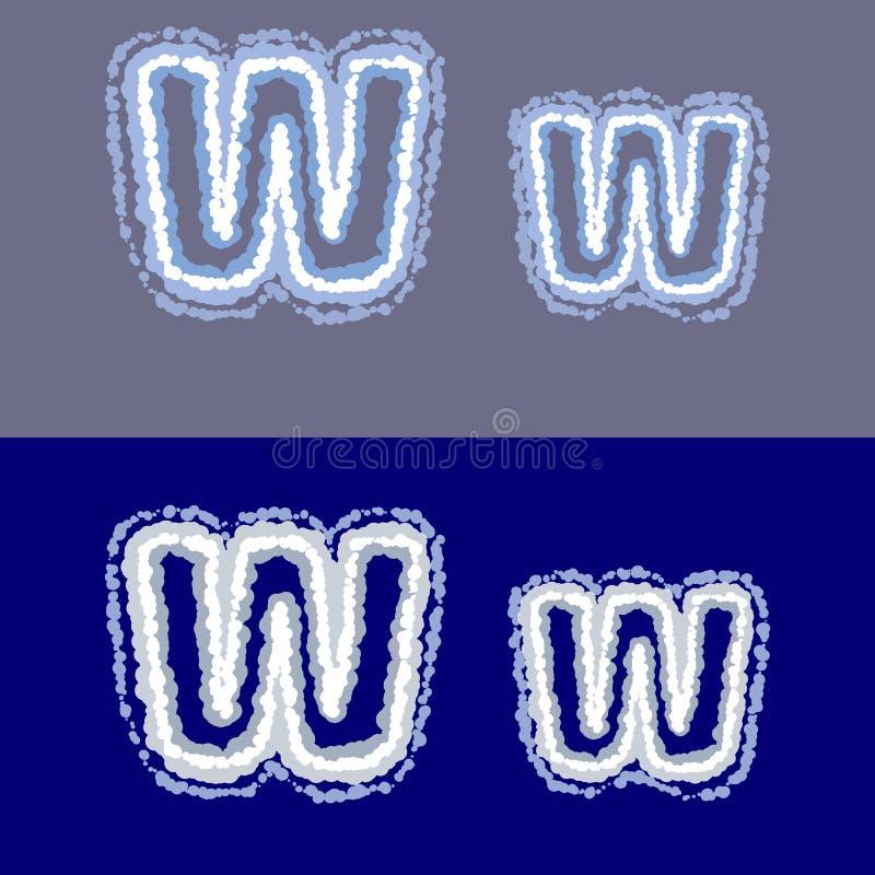 导航在灰色和蓝色背景的信件W 免版税库存照片