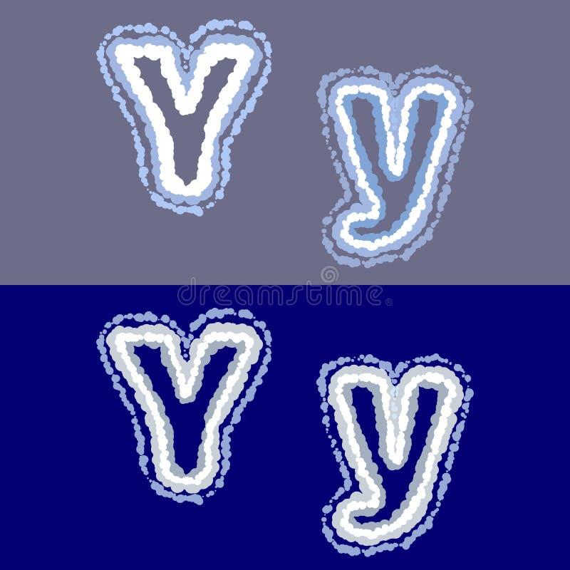 导航在灰色和蓝色背景的信件Y 库存图片