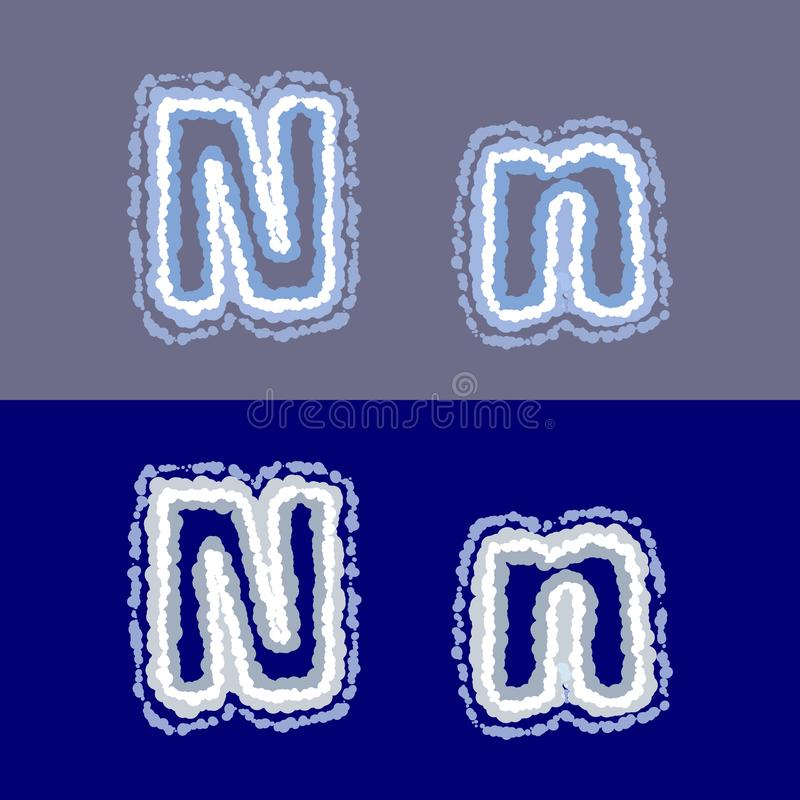 导航在灰色和蓝色背景的字母N 库存例证