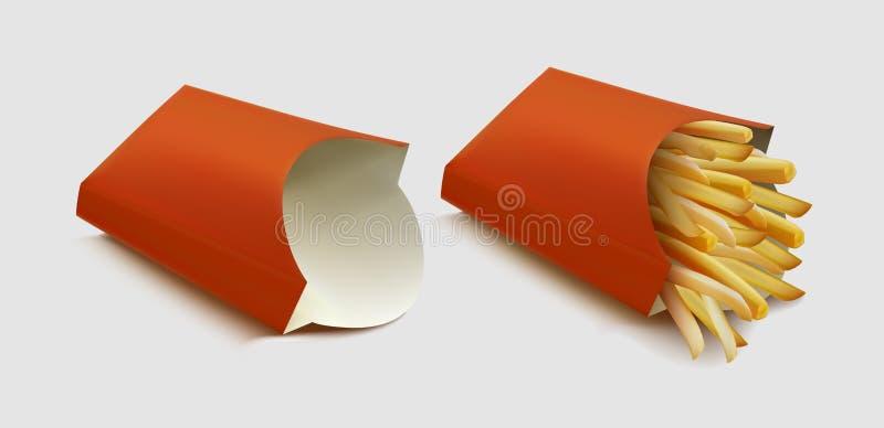 导航在灰色背景隔绝的红色纸盒包裹箱子的土豆炸薯条 向量例证