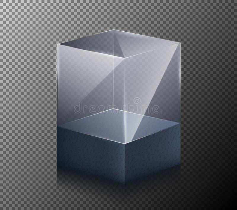 导航在灰色背景隔绝的一个现实,透明,玻璃立方体的例证 皇族释放例证