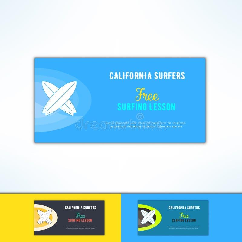 导航在现代平的设计的冲浪的教训广告飞行物 海浪类广告设计元素 皇族释放例证