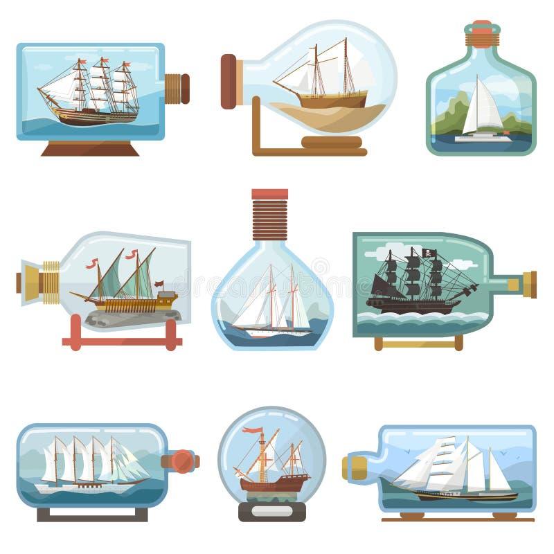 导航在瓶小船的船在玻璃瓶子的微型风船纪念品有黄柏在被隔绝的烧瓶的运输ouvenir的  向量例证