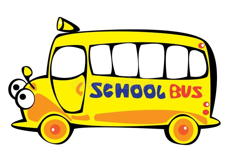 导航在白色查出的动画片黄色校车 库存例证