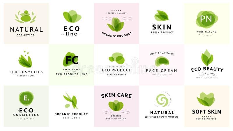 导航在白色背景在绿色隔绝的透明秀丽、eco化妆用品和健康治疗标志的收藏 库存例证