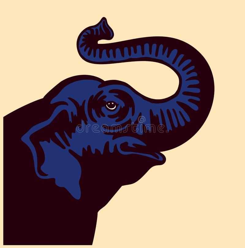 导航在白色背景的大象顶头上升的口鼻部例证 皇族释放例证