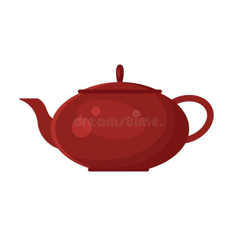 导航在白色背景的平的茶壶象商标 茶标志,餐馆菜单的,食谱设计元素 皇族释放例证