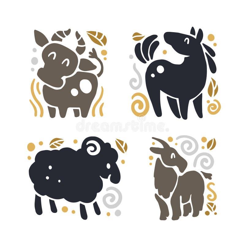 导航在白色背景隔绝的平的逗人喜爱的滑稽的手拉的动物剪影-母牛、马、绵羊和山羊 库存例证