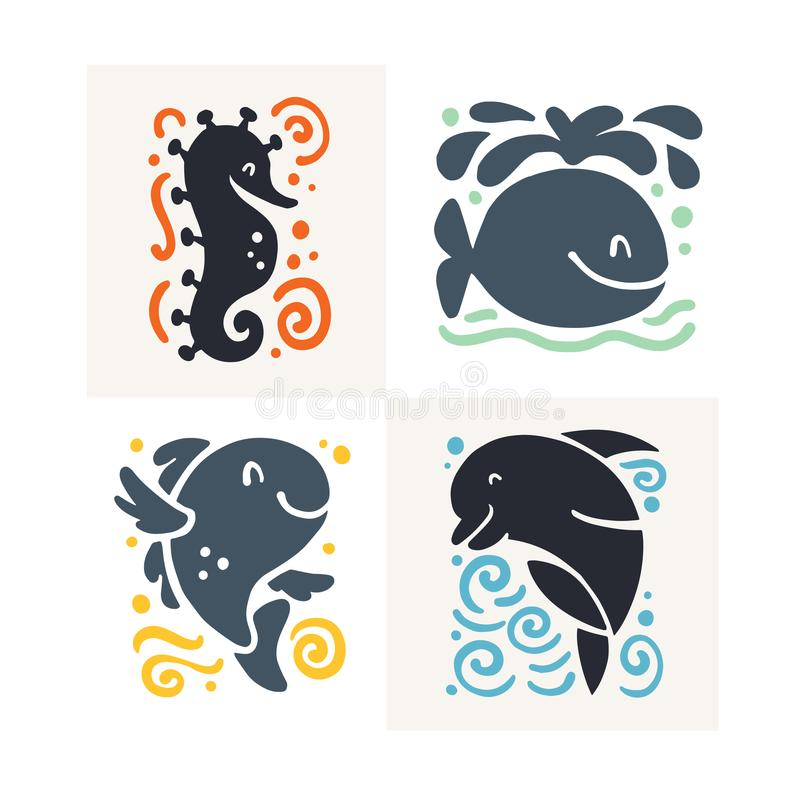 导航在白色背景隔绝的平的逗人喜爱的滑稽的手拉的海生动物剪影-海象、鲸鱼、鱼和海豚 库存例证