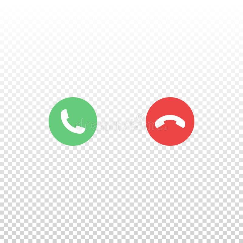 导航在白色背景隔绝的红色和绿色电话象 设计接口流动应用程序或网站的元素 皇族释放例证