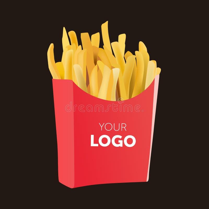 导航在白色背景隔绝的红色纸盒包裹箱子的土豆炸薯条 快餐 库存例证