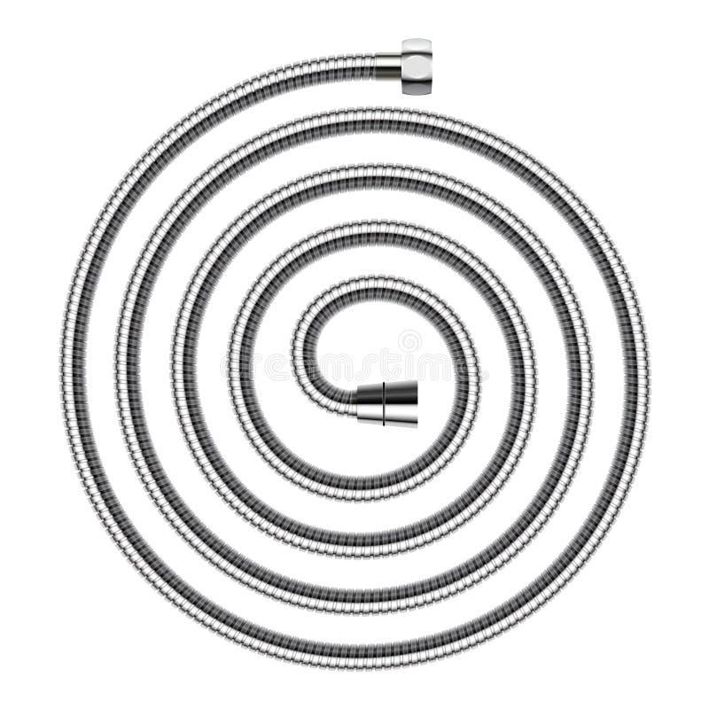 导航在白色背景隔绝的螺旋形状的阵雨水管 皇族释放例证