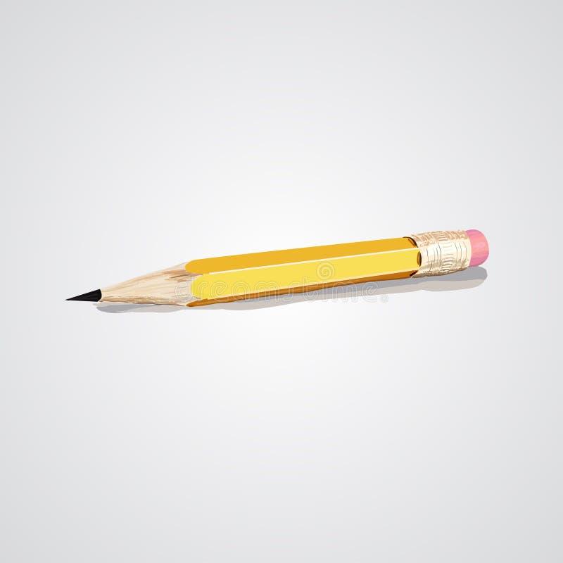 导航在白色背景隔绝的被削尖的详细的木铅笔的例证 grafics的铅笔 免版税库存照片