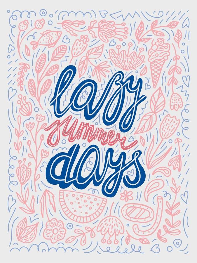 导航在粉红彩笔,蓝色和灰色颜色的懒惰夏日印刷术例证 在海报上写字的减速火箭的书法 皇族释放例证