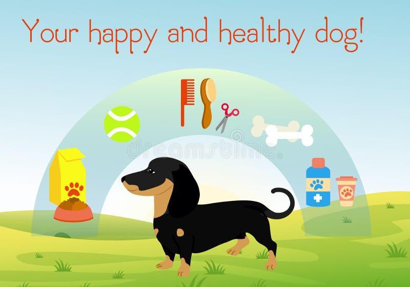 导航在绿草的例证狗与套狗的辅助部件 宠物标志的汇集 健康和愉快的狗 皇族释放例证