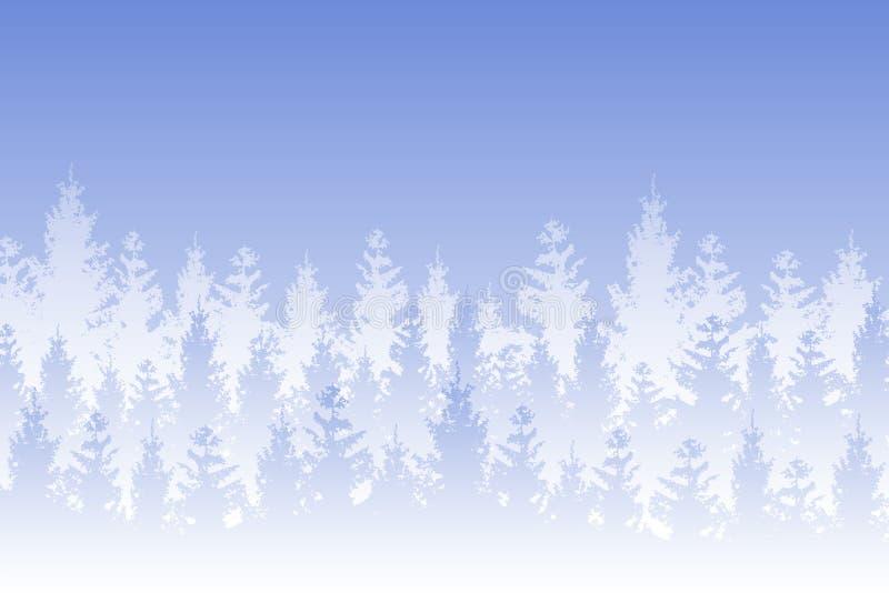导航在蓝色背景的白色雪报道的冬天树木丛生的风景 皇族释放例证