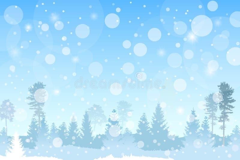导航在蓝色颜色的冬天圣诞节树木丛生的风景与降雪作用 库存例证